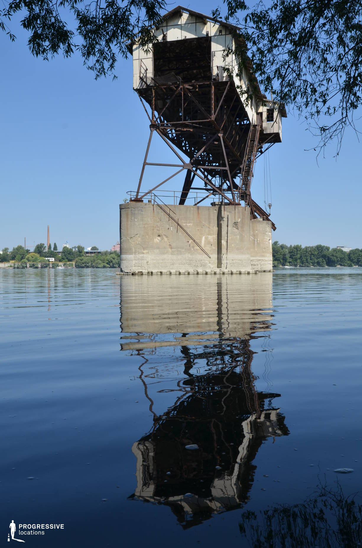 Locations in Hungary: Coal Loading Station, River Danube (Industrial Construction, Water Reflection)
