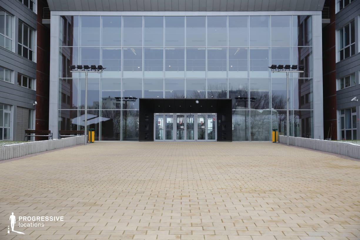 Locations in Hungary: Exterior %26 Entrance, Glass Facade, Sci-Fi Corridor