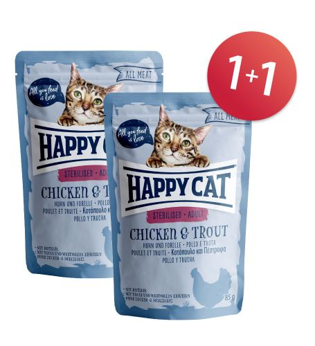 AKCE: Kapsička ALL MEAT Sterilised Huhn & Forelle 1+1