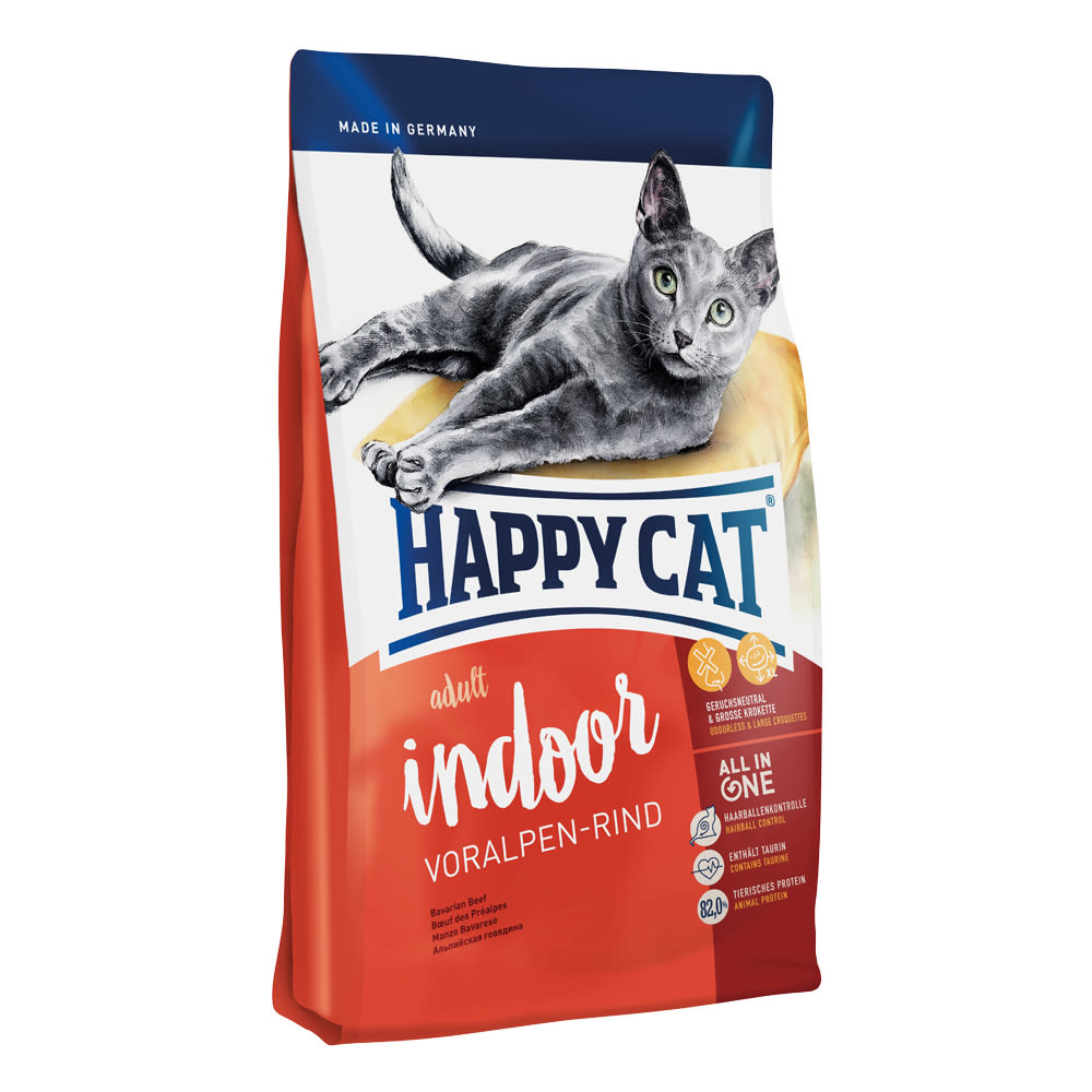 Happy Cat Indoor Voralpen-Rind / Hovězí 1,4 kg