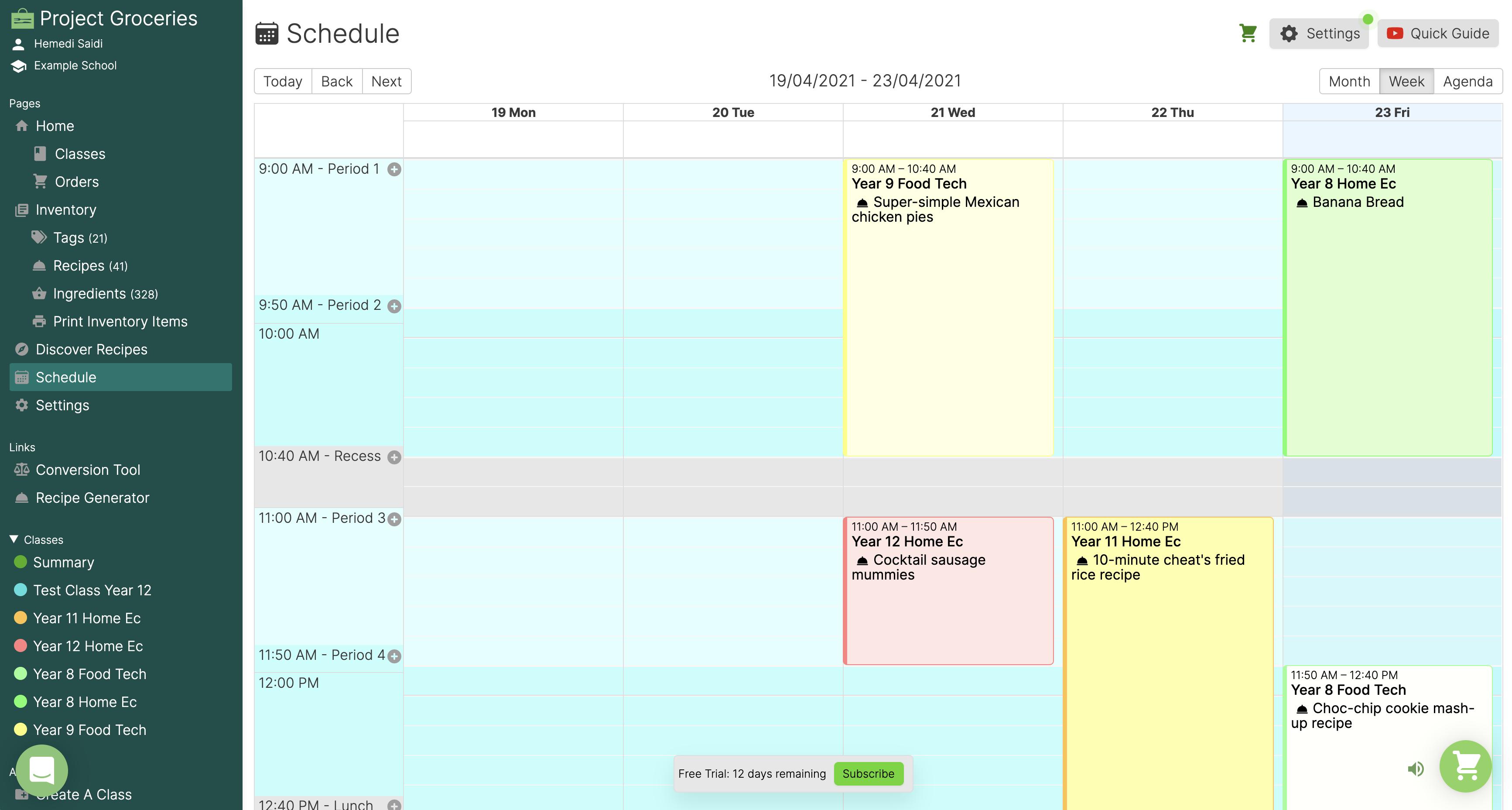 Schedule user interface