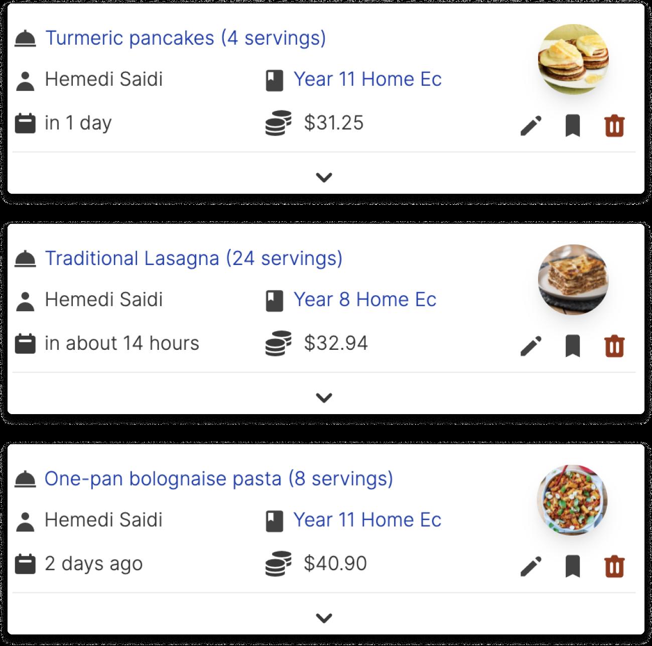 Recipe Orders