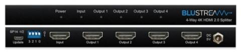 Blustream 4-Way 4K HDMI 2.0 Splitter with EDID management (SP14-V2)