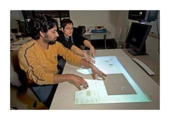 Projector used to create counter top touch-screen
