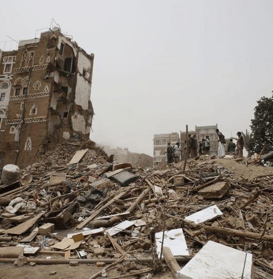 A building in ruins following an airstrike