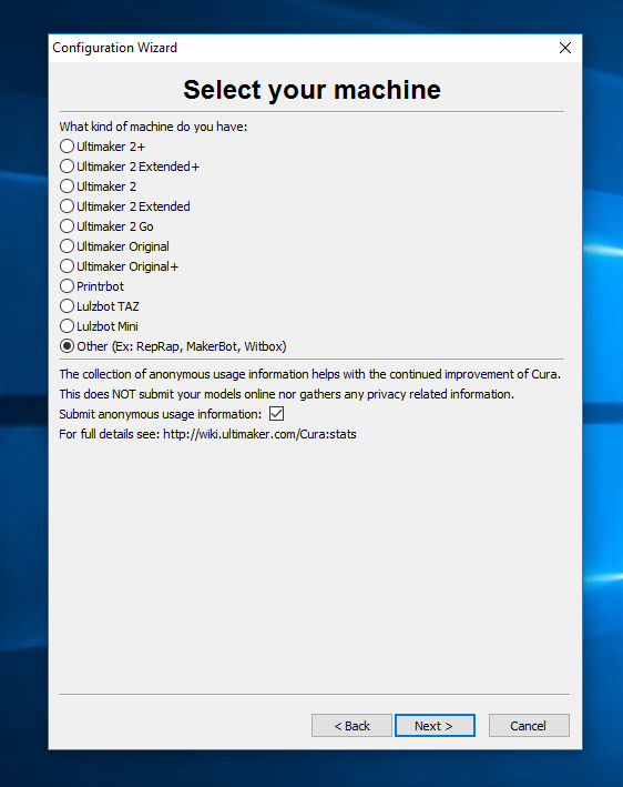 cura select your machine screen