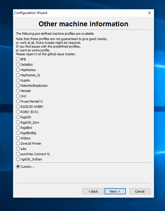cura other machine information screen