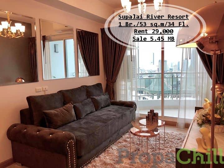 เช่า&ขาย- Supalai River Resort  /1นอน / 53ตรม. ชั้น 34 วิวแม่น้ำ+วิวสระ ตกแต่งพร้อม เช่า 29,000/ขาย 5.45 ล้าน
