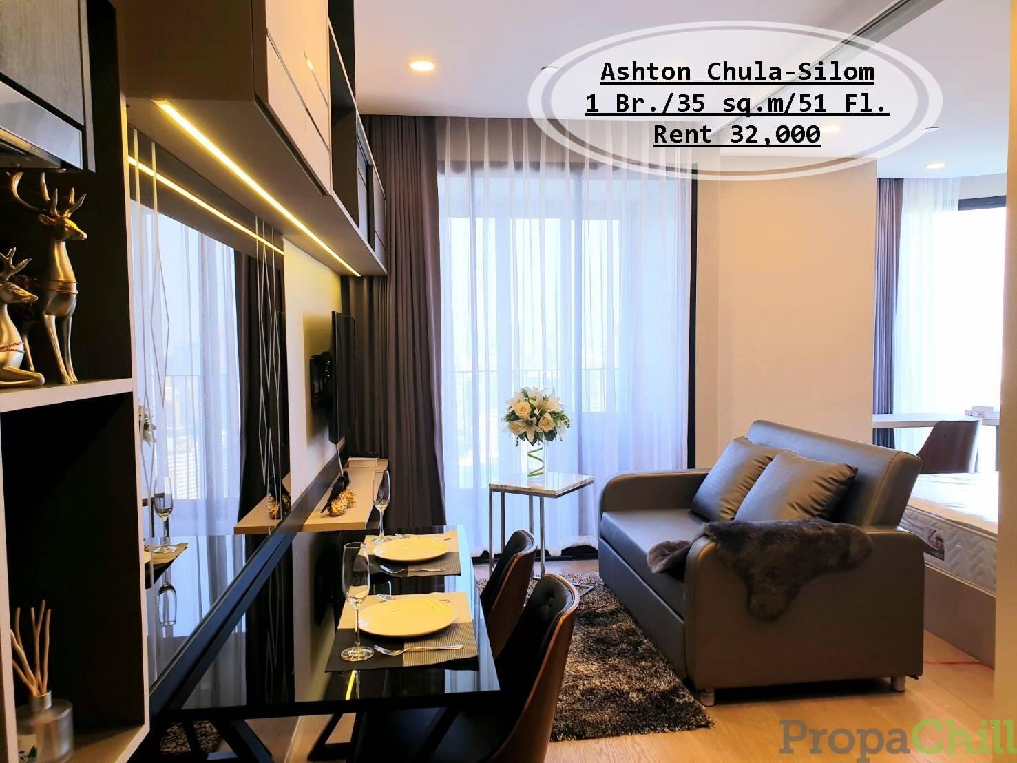 เช่า- Asthon จุฬา-สีลม/ 1นอน/ 35 ตรม. /ชั้น 51 /ใกล้ MRT  สามย่าน/ เช่า 32,000 บ.