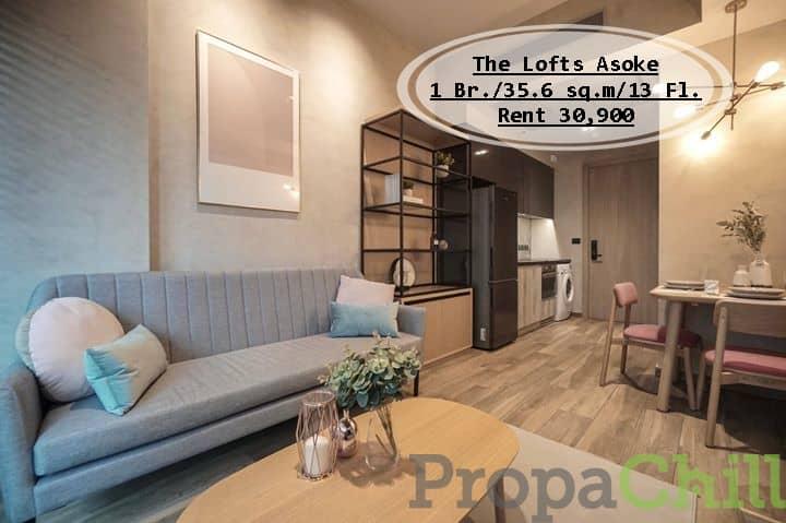 เช่า - The Lofts Asoke /35.6 ตร.ม/1 นอน/ชั้น 13 ใกล้ BTS อโศก เช่า 30,900