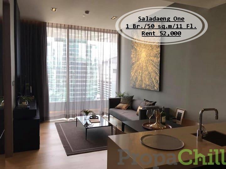 เช่า- Saladaeng One /1นอน/ 50 ตร.ม/ชั้น11 / ใกล้ BTS ศาลาแดง& MRT  สีลม /เช่า 52,000