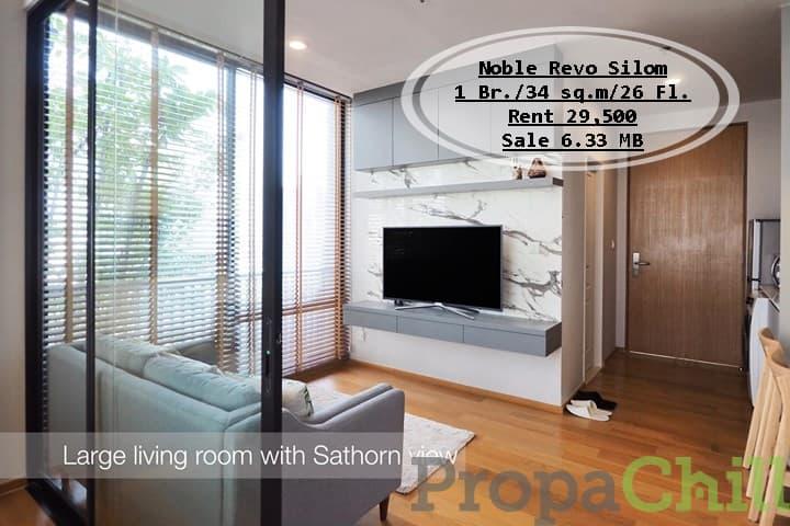 เช่า&ขาย Noble Revo Silom/ 1 นอน / 34 ตรม./ชั้น26 ใกล้ BTS สุรศักดิ์ เช่า 29,500 บ. /ขาย 6.33 ล้าน
