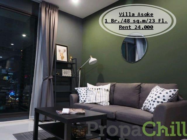 เช่า-Villa Asoke /1นอน /48 ตร.ม/ชั้น 23 วิวเมือง ตกแต่งสวยงาม ใกล้ MRT เช่า 24,000