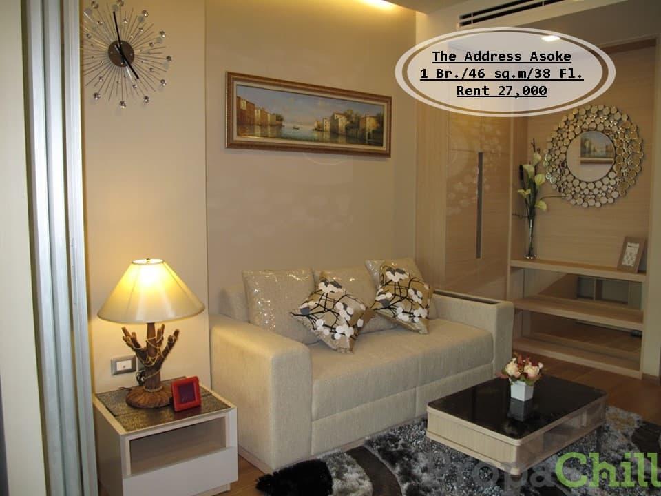 เช่า-The Address Asoke /1 นอน/ ชั้น 38/ 46 ตร.ม/ ตกแต่งสวย วิวโล่ง เช่า 27,000