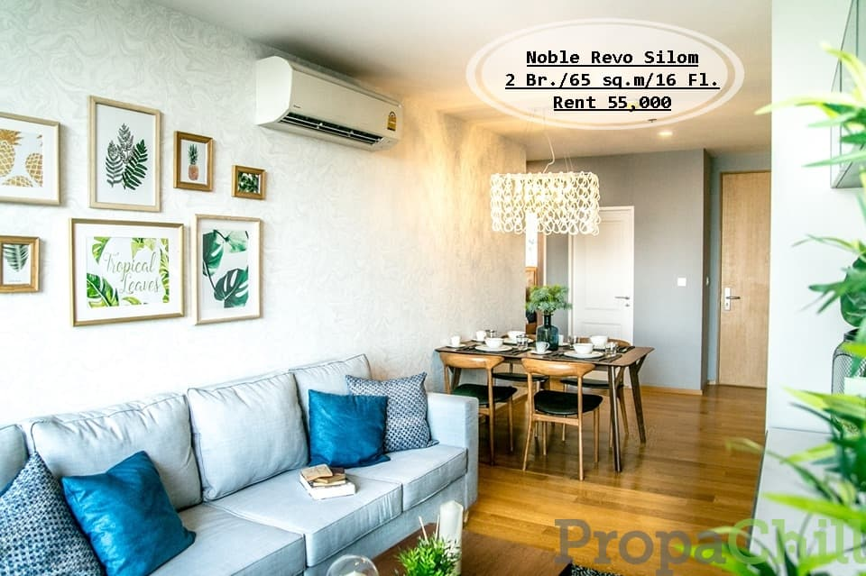 เช่า-Noble Revo Silom/ 2 นอน / 65 ตรม./ชั้น 16 ใกล้ BTS สุรศักดิ์ เช่า 55,000 บ.