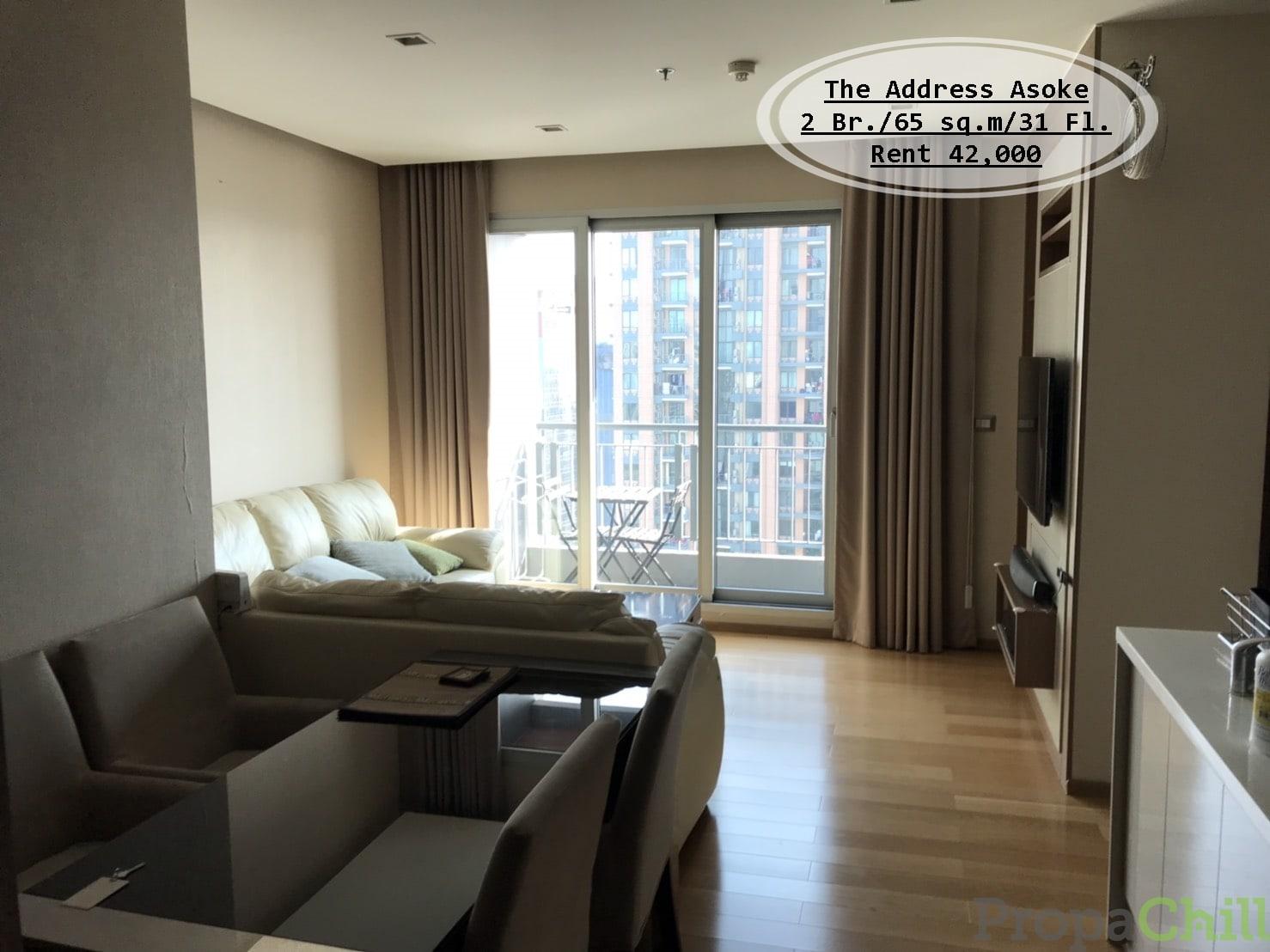 เช่า-The Address Asoke /2 นอน/ ชั้น 31/ 65 ตร.ม/ ใกล้ MRT เพชรบุรี /เช่า 42,000