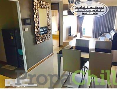 เช่า- Supalai River Resort  /1นอน / 53 ตรม. /ชั้น 34 วิวแม่น้ำ เช่า 22,000