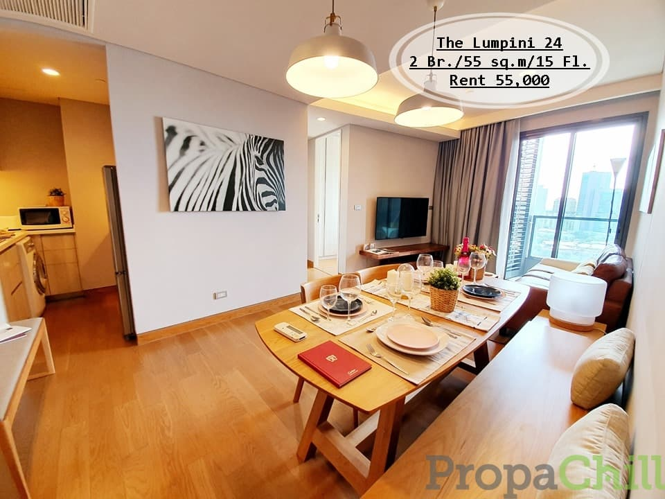 เช่า- The Lumpini 24 / 2นอน /55 ตรม./ชั้น 15 ใกล้ BTS พร้อมพงษ์ เช่า 55,000