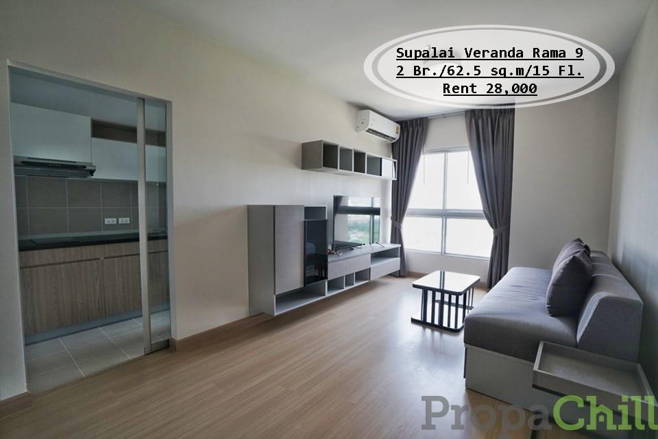 เช่า- Supalai Veranda Rama 9 / 2นอน / 62.5 ตรม. ชั้น 15 วิวเมือง เช่า 28,000