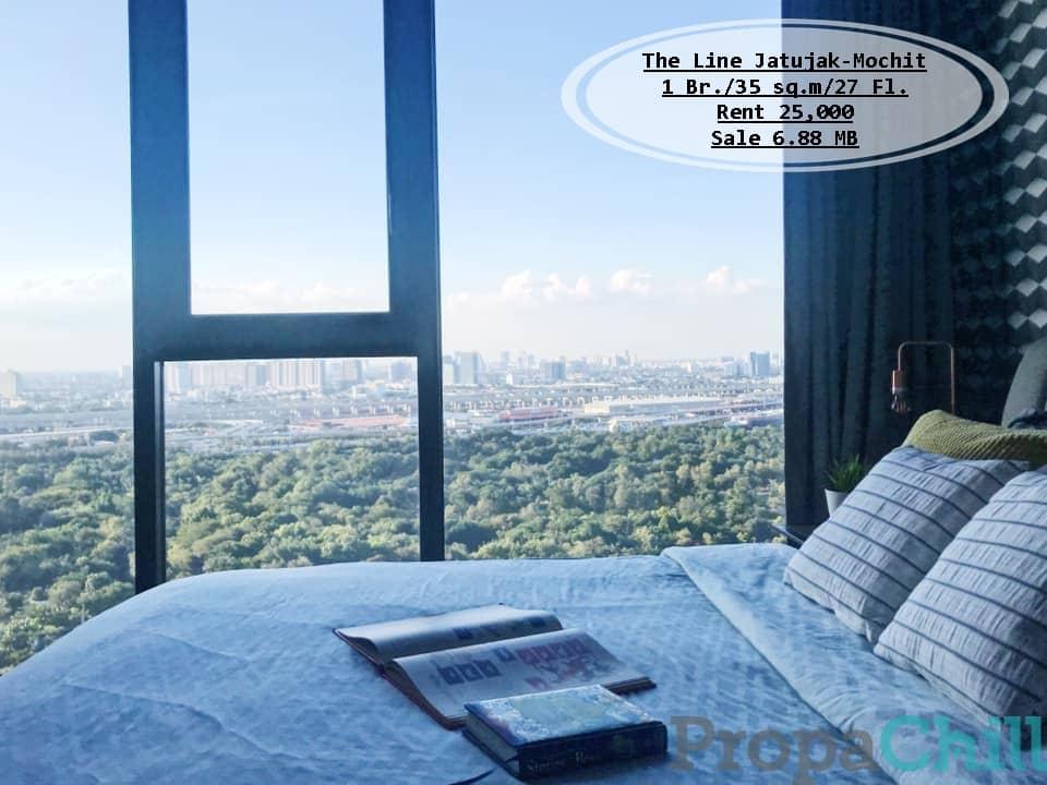เช่า&ขาย- The Line จตุจักร-หมอชิต /35 ตร.ม/1 นอน/ ชั้น 27 /วิวสวน ใกล้ BTS & MRT  / เช่า 25,000 /ขาย 6.88 ล้าน