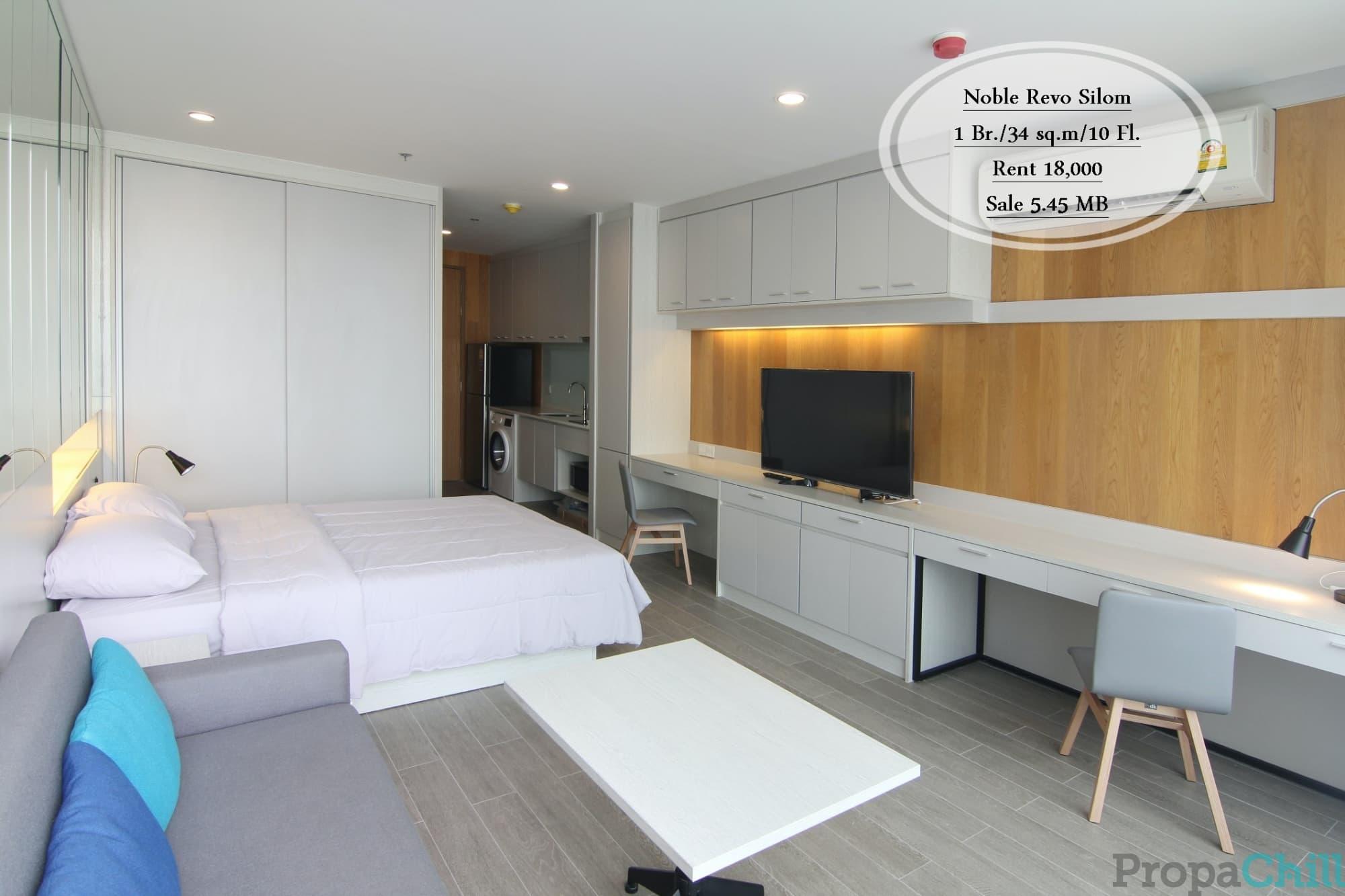 เช่า&ขาย Noble Revo Silom/ 1 นอน / 34 ตรม. /ชั้น10 ใกล้ BTS สุรศักดิ์ เช่า 18,000 บ. /ขาย 5.45 ล้าน