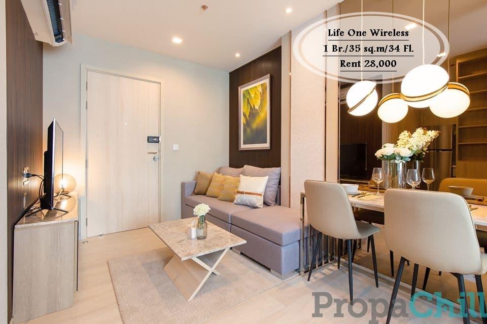 เช่า Life One Wireless  1 bed+ - ชั้น 34 ใกล้BTS เพลินจิต 28,000 บาท
