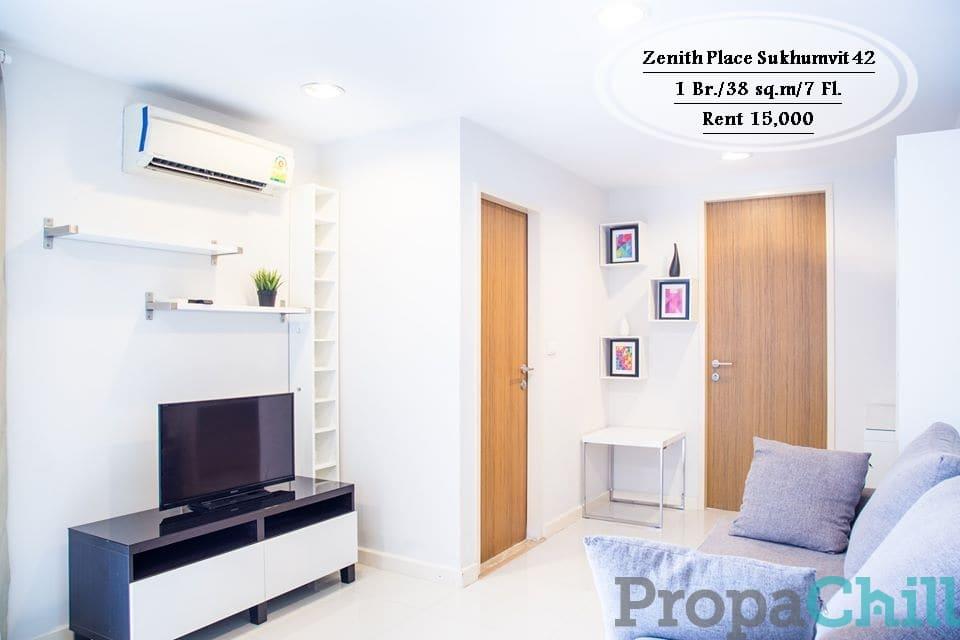 เช่า- Zenith Place Sukhumvit 42/1นอน/ 38 ตร.ม/ ชั้น 7 /ใกล้ BTS เอกมัย /เช่า 15,000