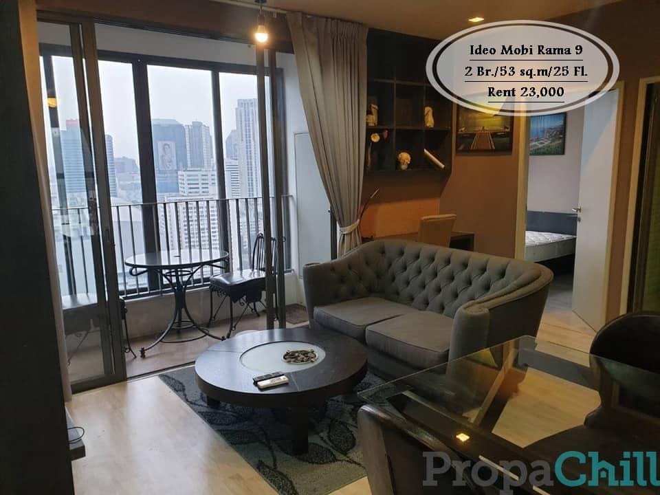 เช่า - Ideo Mobi Rama 9/53 ตร.ม/2 นอน/ ชั้น 25/ใกล้ MRT พระราม 9  เช่า 23,000