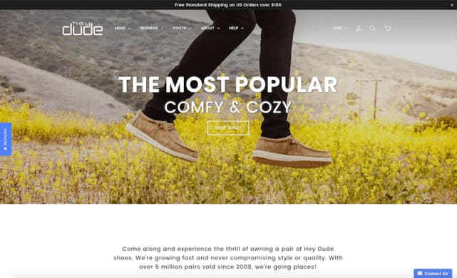 Hey Dude Shoes e-commerce website