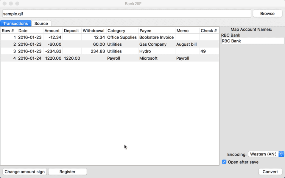 Bank2IIF for Mac full screenshot