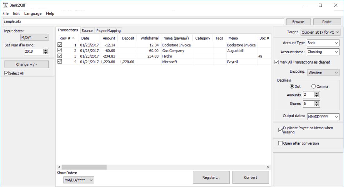 Windows 7 Bank2QIF 3.1.3 full