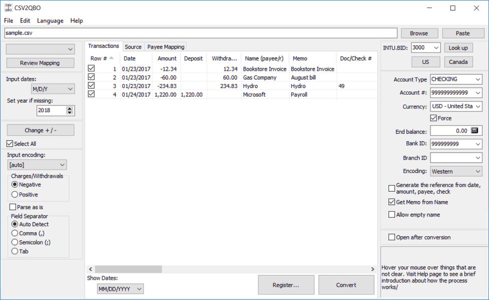 Convert CSV to QBO (Web Connect)