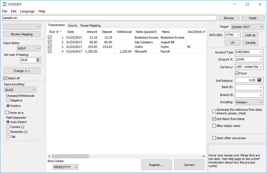 Convert CSV to QFX (Web Connect)