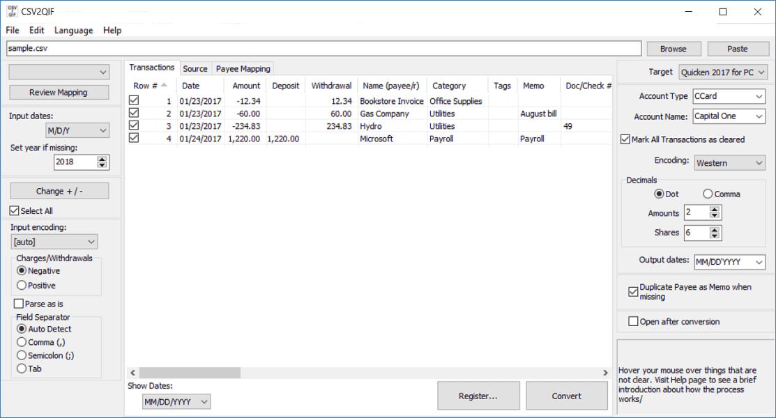 Windows 7 CSV2QIF 3.2.1 full