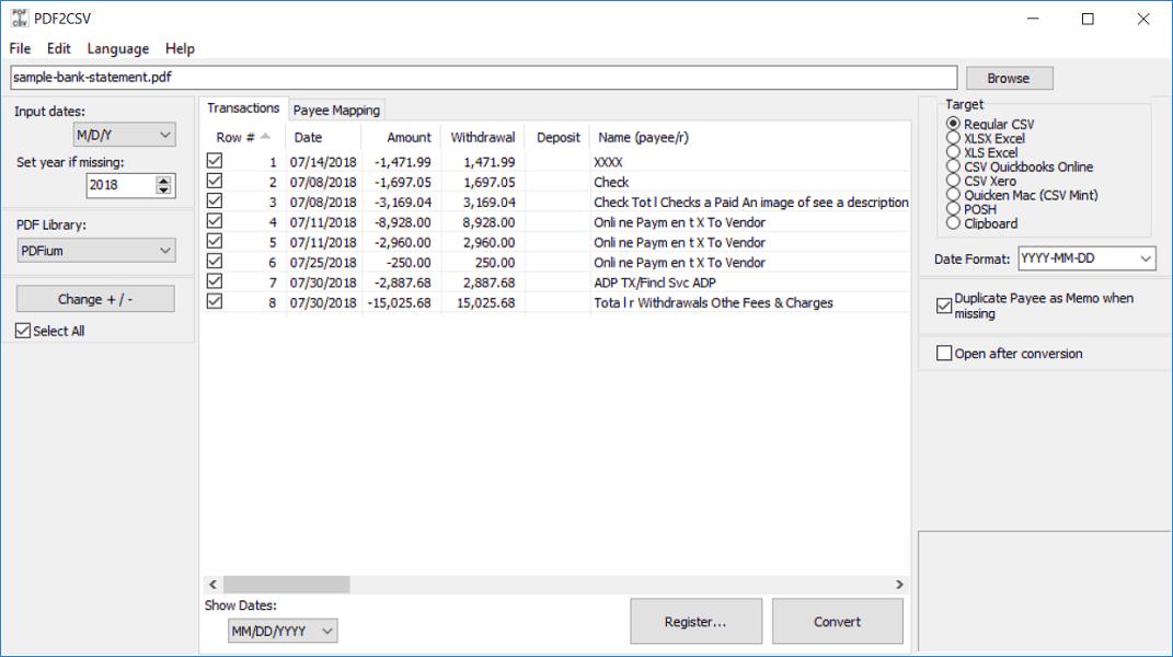 Convert PDF to CSV/Excel