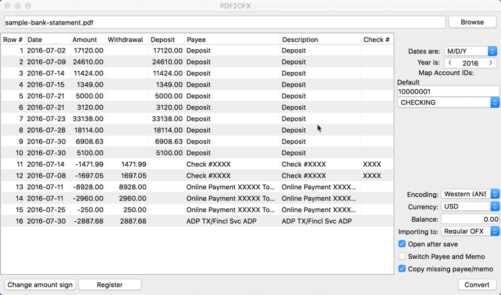 PDF2OFX for Mac full screenshot