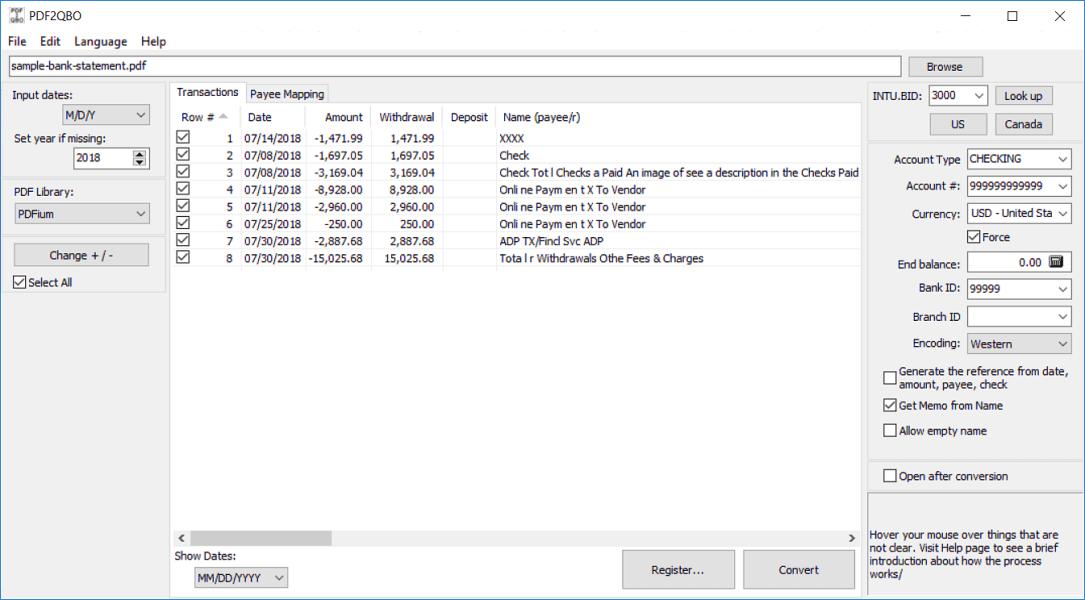 Convert PDF to QBO (Web Connect)