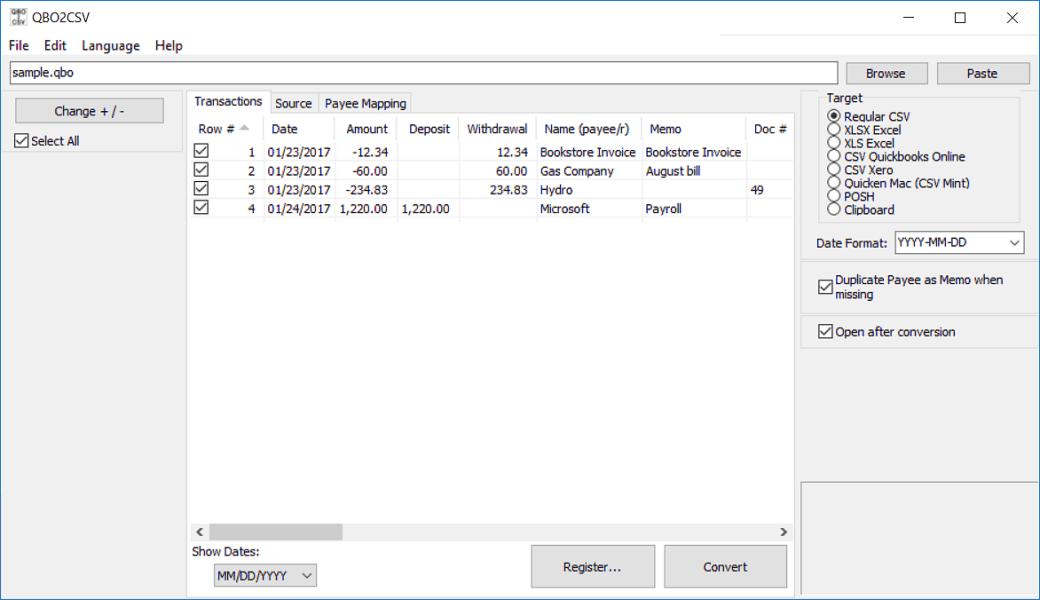Convert QBO to CSV/Excel/PDF