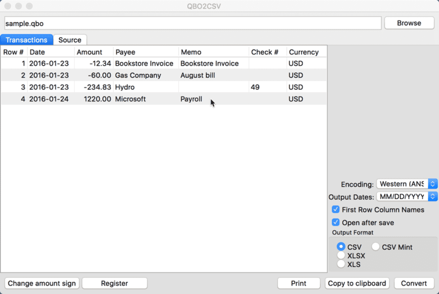 QBO2CSV for Mac full screenshot
