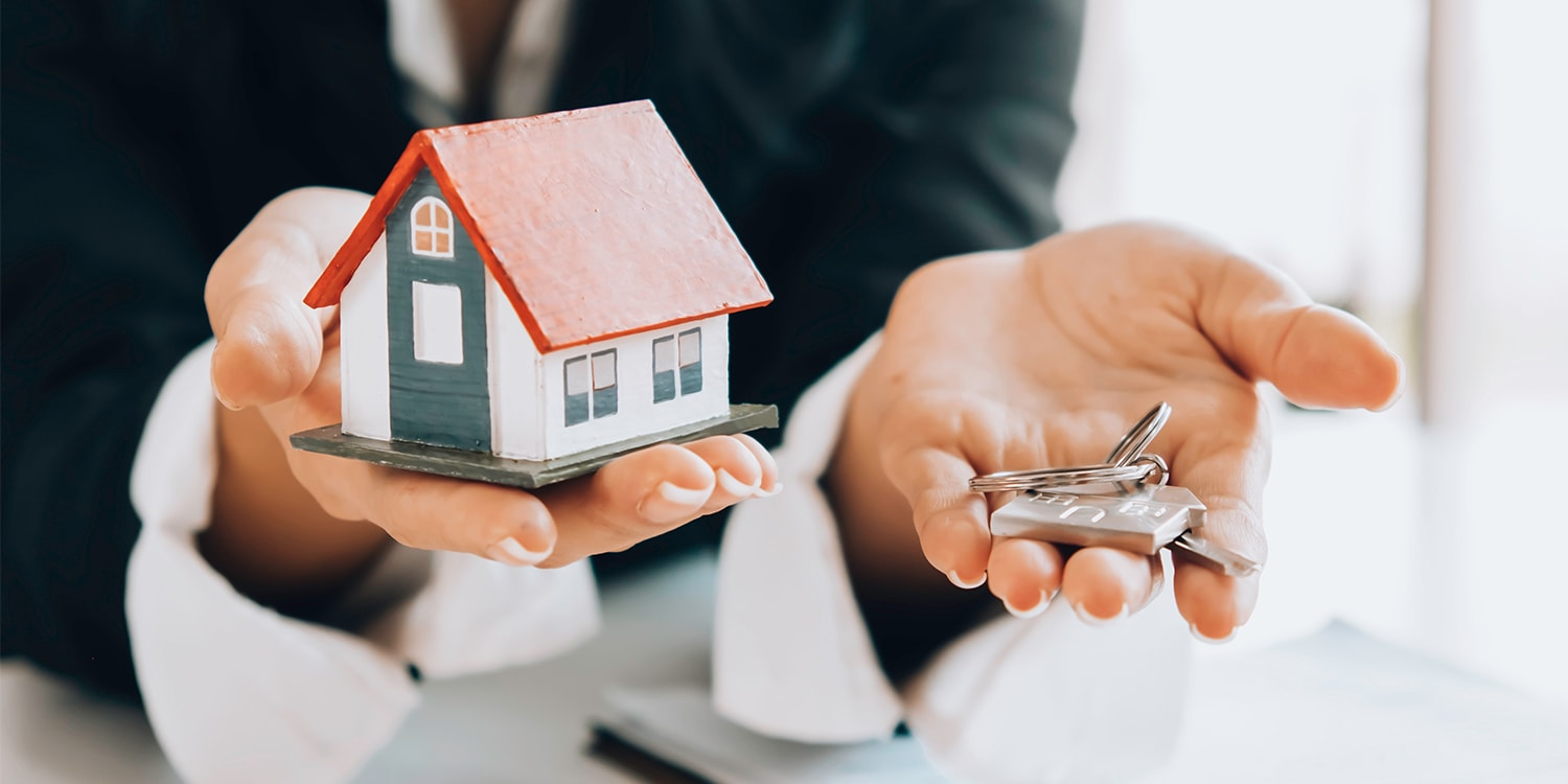 Concept of banker selling bank-owned properties
