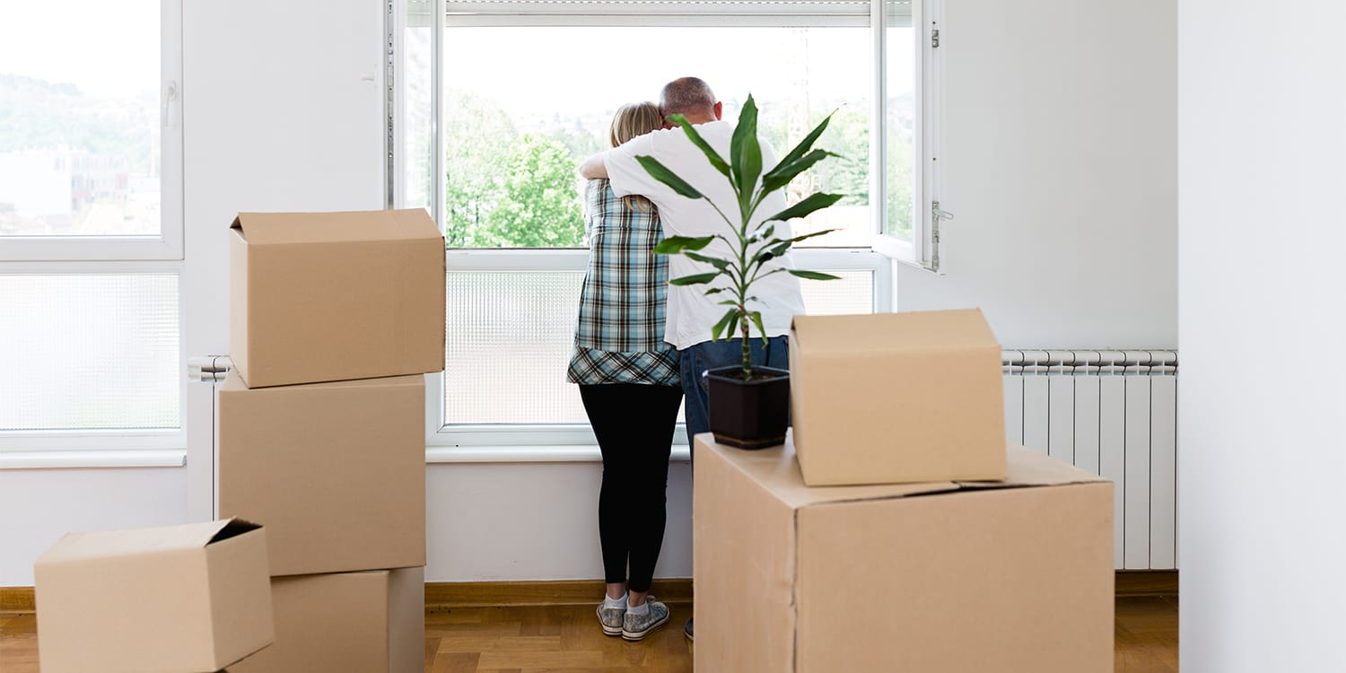 Couple moving out of house.