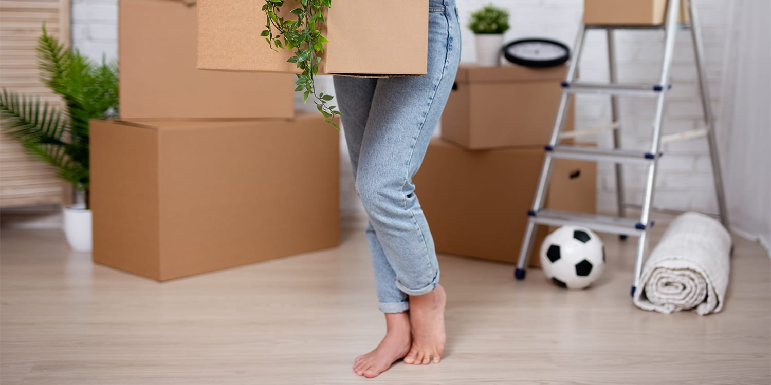 Home seller packing and getting ready to move