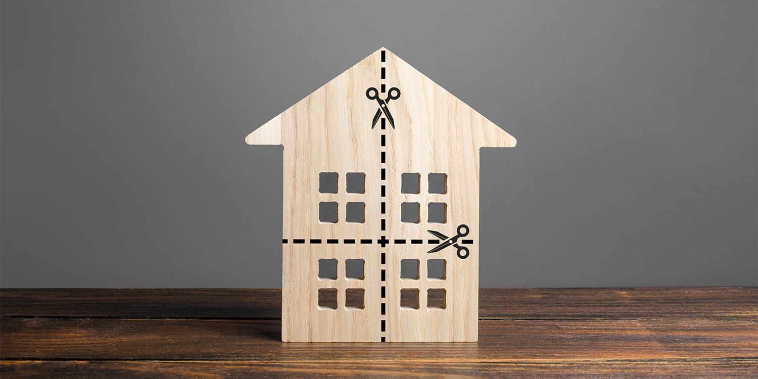 House being divided - Divorce home selling concept