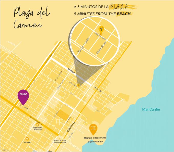 The Yellow Ubicacion Playa del Carmen