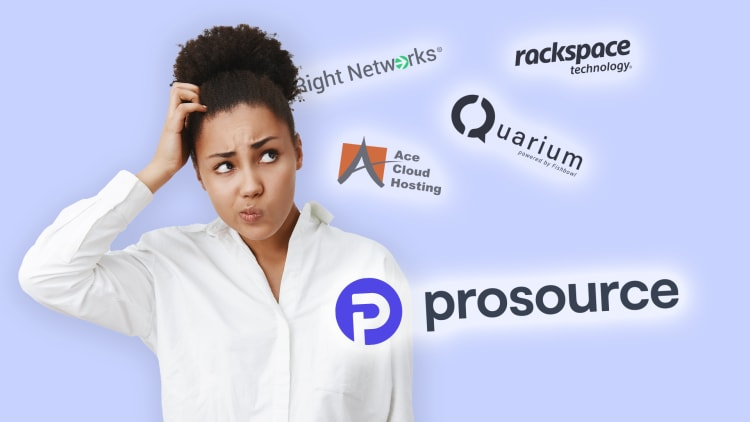 A woman is having trouble deciding choosing between many, different cloud providers, but is leaning toward ProSource.