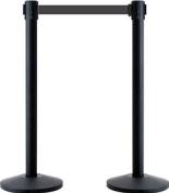 2.3m retractable belt barrier posts in black