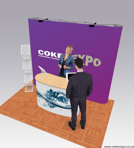 A 3x3 pop up display stand as an exhibition layout