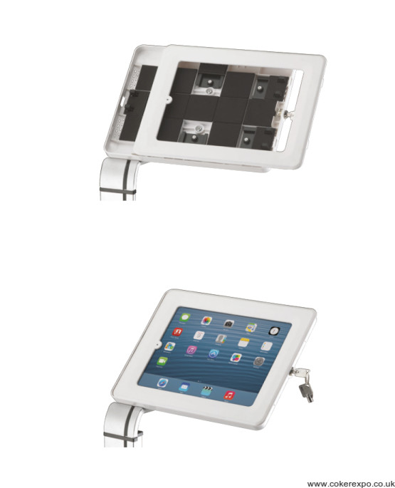 Universal tablet holder enclosure oporation