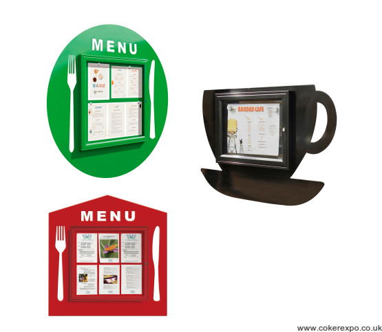 Cafe menu display cases.