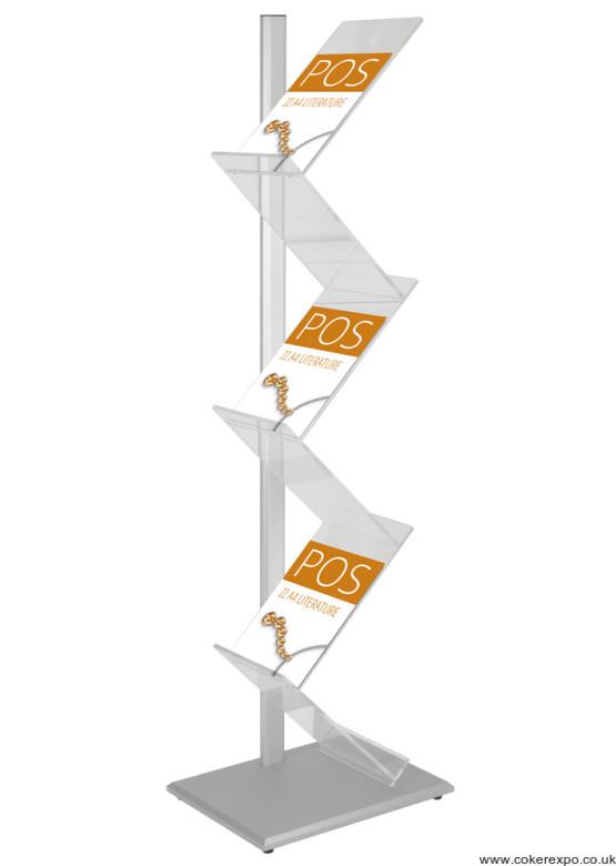 Zig Zag literature rack, aluminium support pole with acrylic shelves